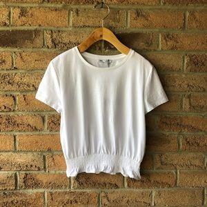 H&M | White crop t-shirt detailed elastici…